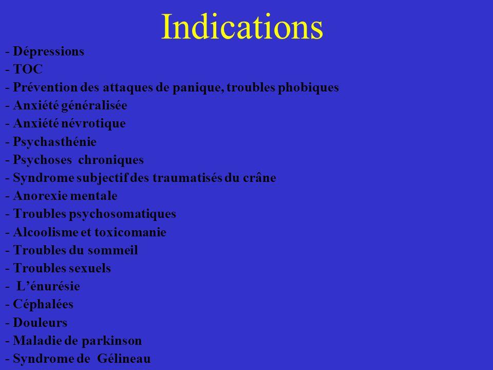 Indications - Dépressions - TOC - Prévention des attaques de panique, troubles phobiques - Anxiété généralisée - Anxiété névrotique - Psychasthénie -