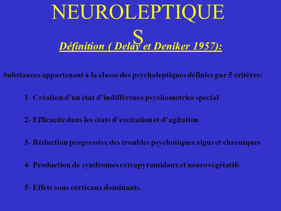 NEUROLEPTIQUE S Définition ( Delay et Deniker 1957): Substances appartenant à la classe des psycholeptiques définies par 5 critères: 1- Création dun é