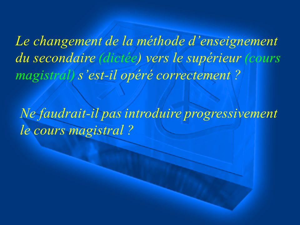 Le changement de la méthode denseignement du secondaire (dictée) vers le supérieur (cours magistral) sest-il opéré correctement .