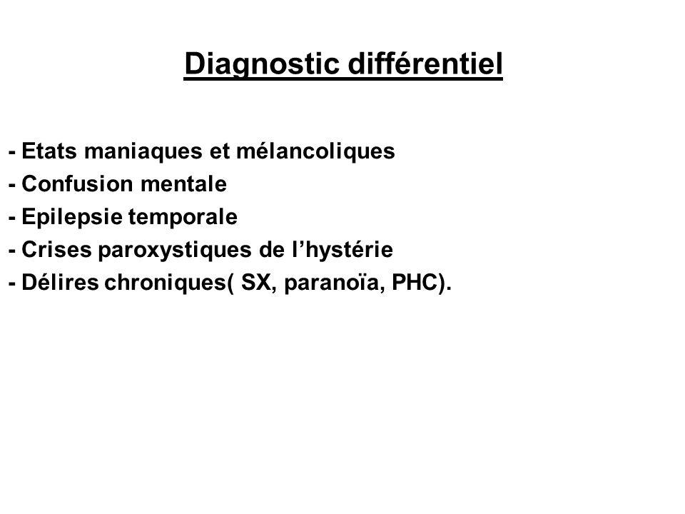 Diagnostic différentiel - Etats maniaques et mélancoliques - Confusion mentale - Epilepsie temporale - Crises paroxystiques de lhystérie - Délires chroniques( SX, paranoïa, PHC).