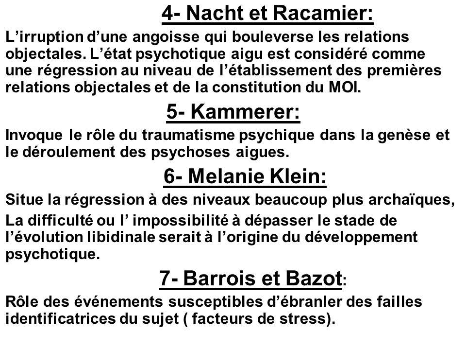 4- Nacht et Racamier: Lirruption dune angoisse qui bouleverse les relations objectales. Létat psychotique aigu est considéré comme une régression au n