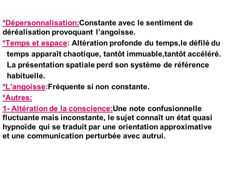 *Dépersonnalisation:Constante avec le sentiment de déréalisation provoquant langoisse.