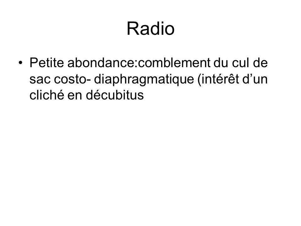 Radio Petite abondance:comblement du cul de sac costo- diaphragmatique (intérêt dun cliché en décubitus