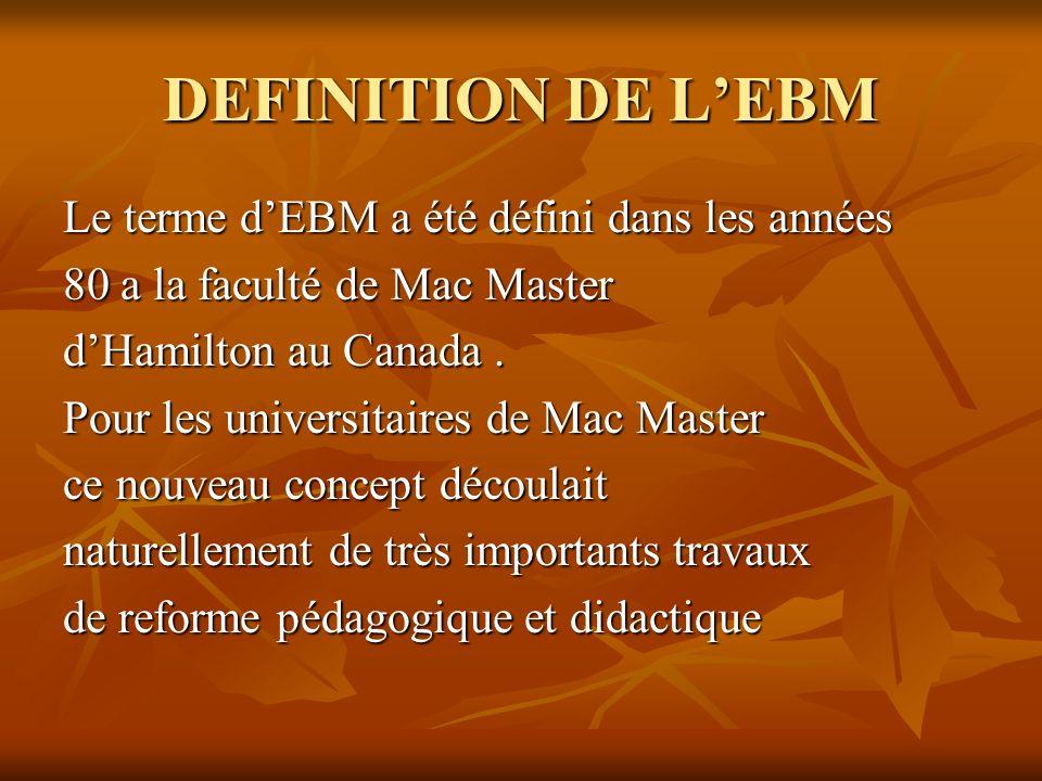 DEFINITION DE LEBM Le terme dEBM a été défini dans les années 80 a la faculté de Mac Master dHamilton au Canada.