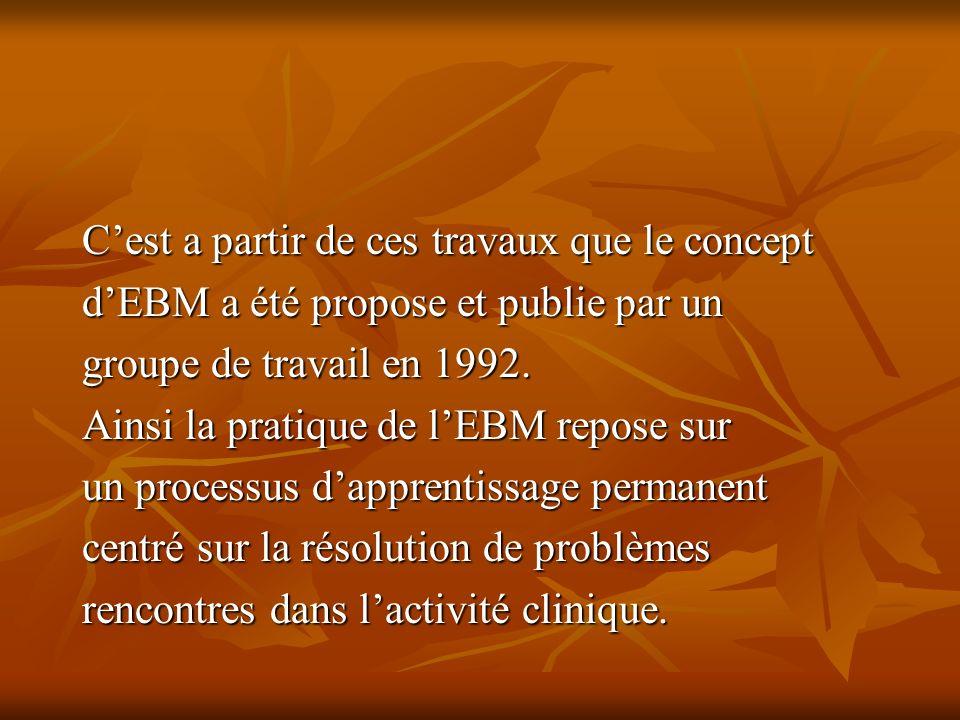 Cest a partir de ces travaux que le concept dEBM a été propose et publie par un groupe de travail en 1992.