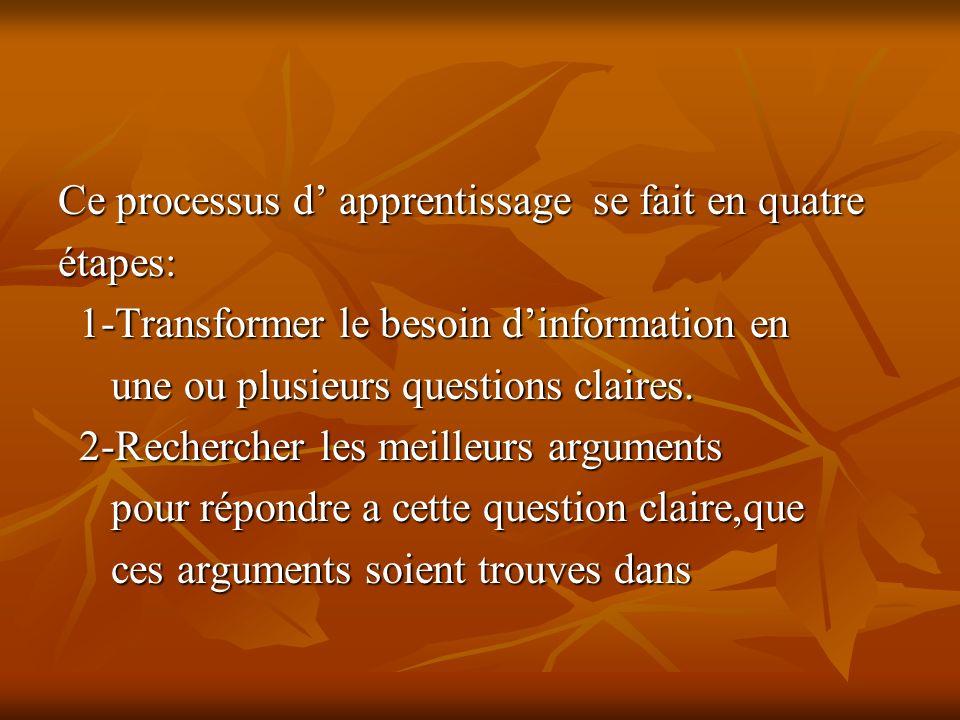Ce processus d apprentissage se fait en quatre étapes: 1-Transformer le besoin dinformation en 1-Transformer le besoin dinformation en une ou plusieurs questions claires.