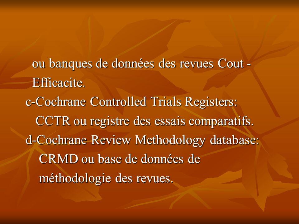 ou banques de données des revues Cout - ou banques de données des revues Cout - Efficacite.