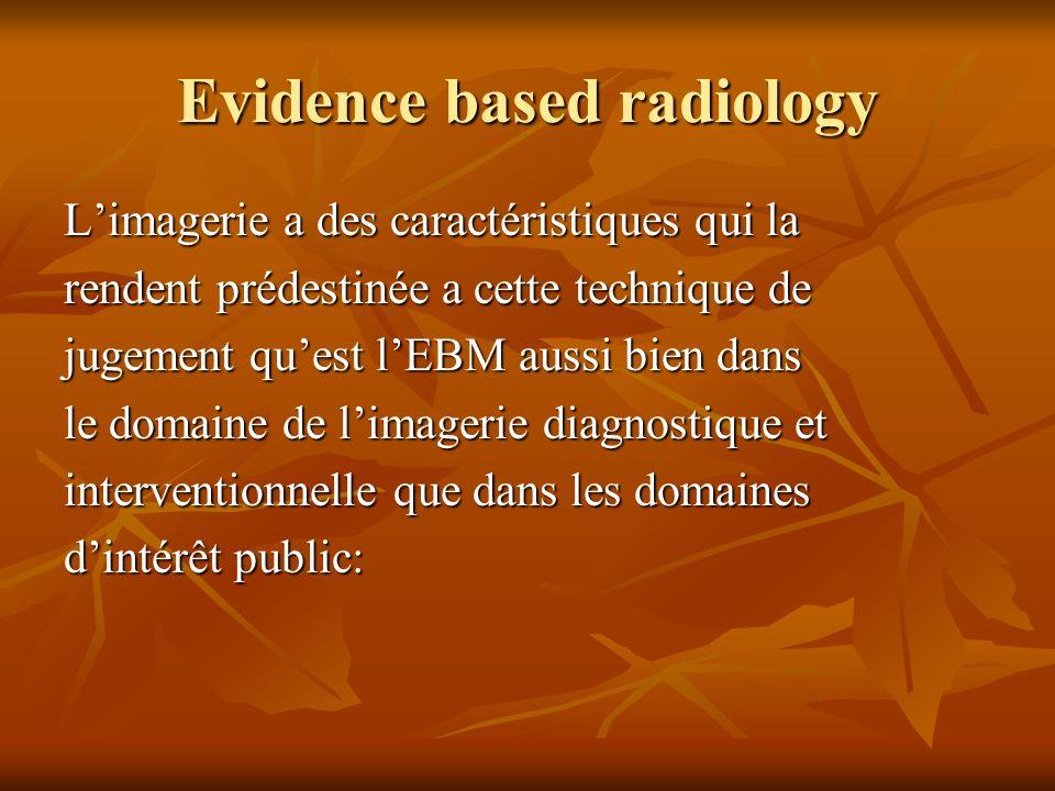 Evidence based radiology Limagerie a des caractéristiques qui la rendent prédestinée a cette technique de jugement quest lEBM aussi bien dans le domaine de limagerie diagnostique et interventionnelle que dans les domaines dintérêt public: