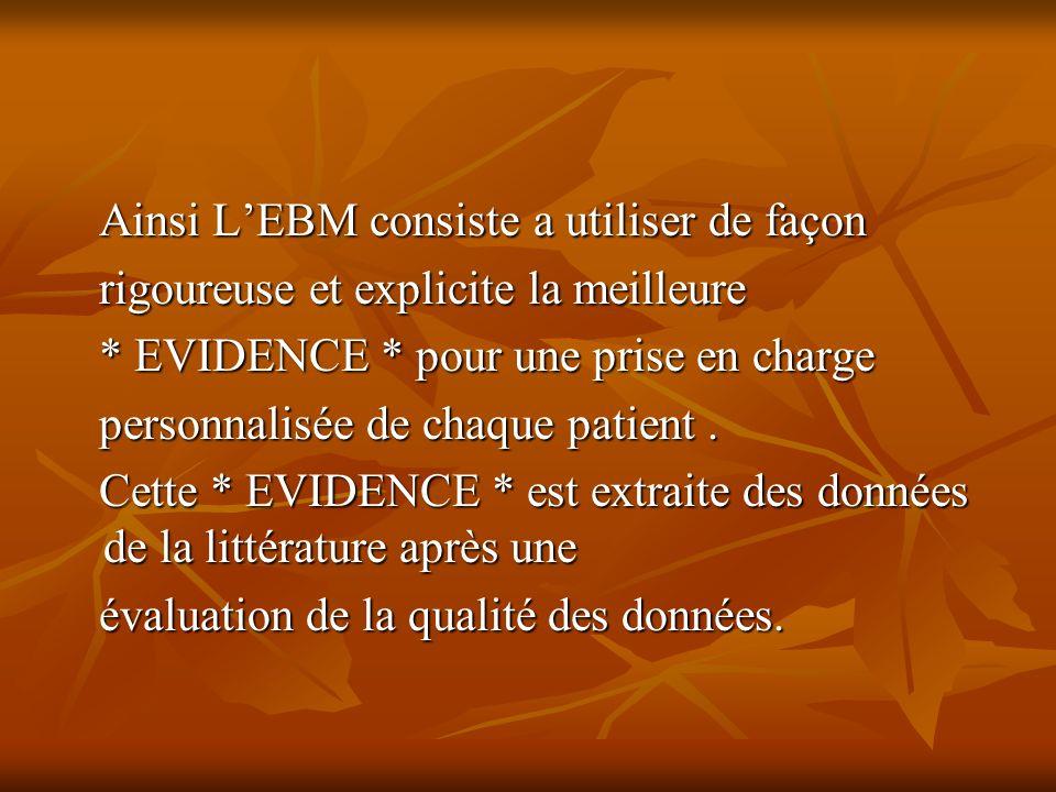 Ainsi LEBM consiste a utiliser de façon Ainsi LEBM consiste a utiliser de façon rigoureuse et explicite la meilleure rigoureuse et explicite la meilleure * EVIDENCE * pour une prise en charge * EVIDENCE * pour une prise en charge personnalisée de chaque patient.