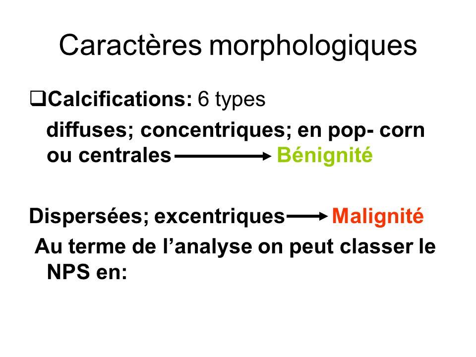 Caractères morphologiques Calcifications: 6 types diffuses; concentriques; en pop- corn ou centrales Bénignité Dispersées; excentriques Malignité Au t