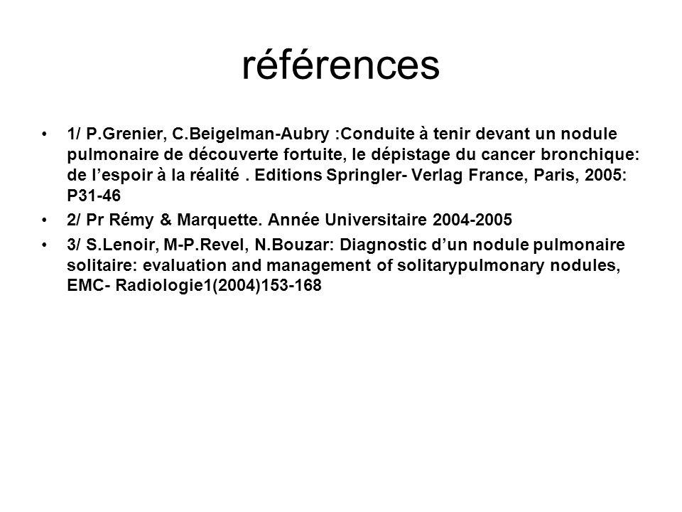 références 1/ P.Grenier, C.Beigelman-Aubry :Conduite à tenir devant un nodule pulmonaire de découverte fortuite, le dépistage du cancer bronchique: de