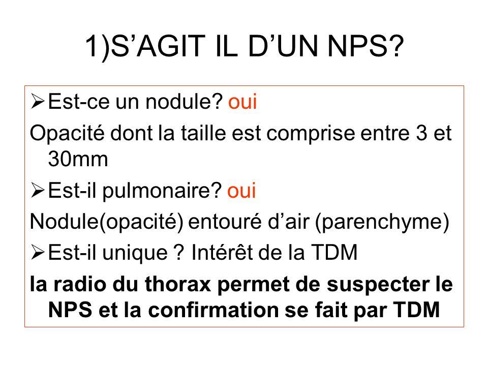 1)SAGIT IL DUN NPS? Est-ce un nodule? oui Opacité dont la taille est comprise entre 3 et 30mm Est-il pulmonaire? oui Nodule(opacité) entouré dair (par