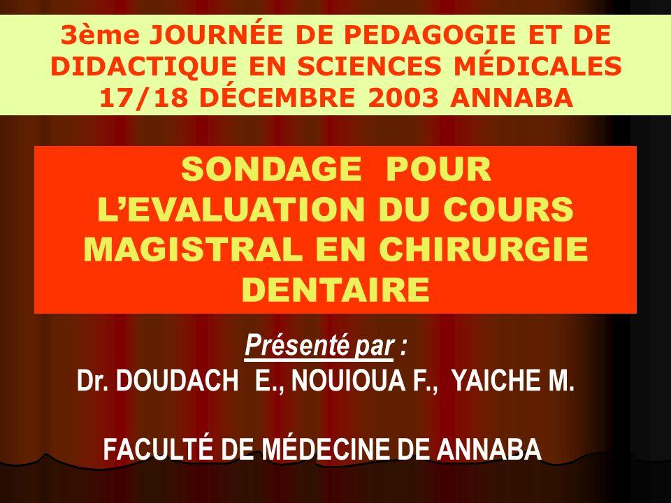 3ème JOURNÉE DE PEDAGOGIE ET DE DIDACTIQUE EN SCIENCES MÉDICALES 17/18 DÉCEMBRE 2003 ANNABA Présenté par : Dr.