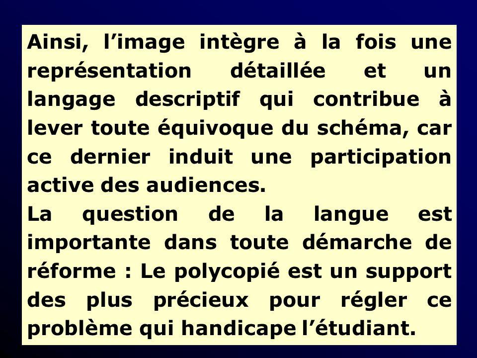 Ainsi, limage intègre à la fois une représentation détaillée et un langage descriptif qui contribue à lever toute équivoque du schéma, car ce dernier induit une participation active des audiences.