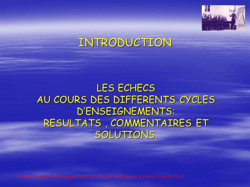 LES ECHECS AU COURS DES DIFFERENTS CYCLES DENSEIGNEMENTS: RESULTATS, COMMENTAIRES ET SOLUTIONS.