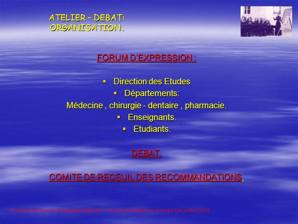 ATELIER – DEBAT: ORGANISATION.