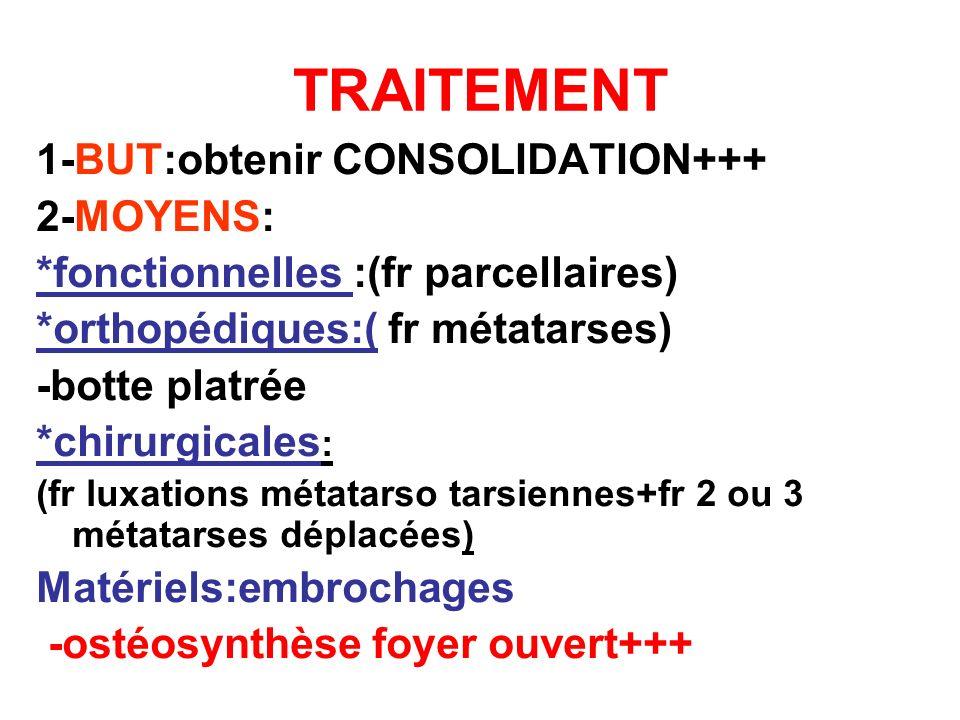 TRAITEMENT 1-BUT:obtenir CONSOLIDATION+++ 2-MOYENS: *fonctionnelles :(fr parcellaires) *orthopédiques:( fr métatarses) -botte platrée *chirurgicales :