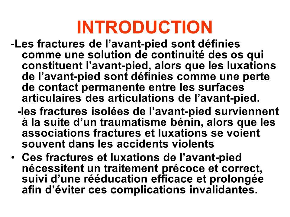 INTRODUCTION -Les fractures de lavant-pied sont définies comme une solution de continuité des os qui constituent lavant-pied, alors que les luxations