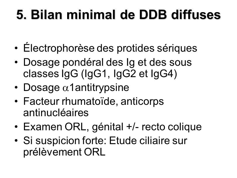5. Bilan minimal de DDB diffuses Électrophorèse des protides sériques Dosage pondéral des Ig et des sous classes IgG (IgG1, IgG2 et IgG4) Dosage 1anti