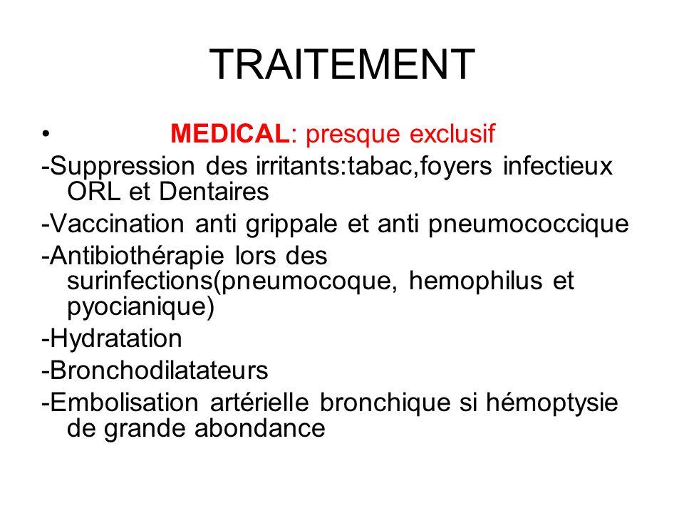 TRAITEMENT MEDICAL: presque exclusif -Suppression des irritants:tabac,foyers infectieux ORL et Dentaires -Vaccination anti grippale et anti pneumococc