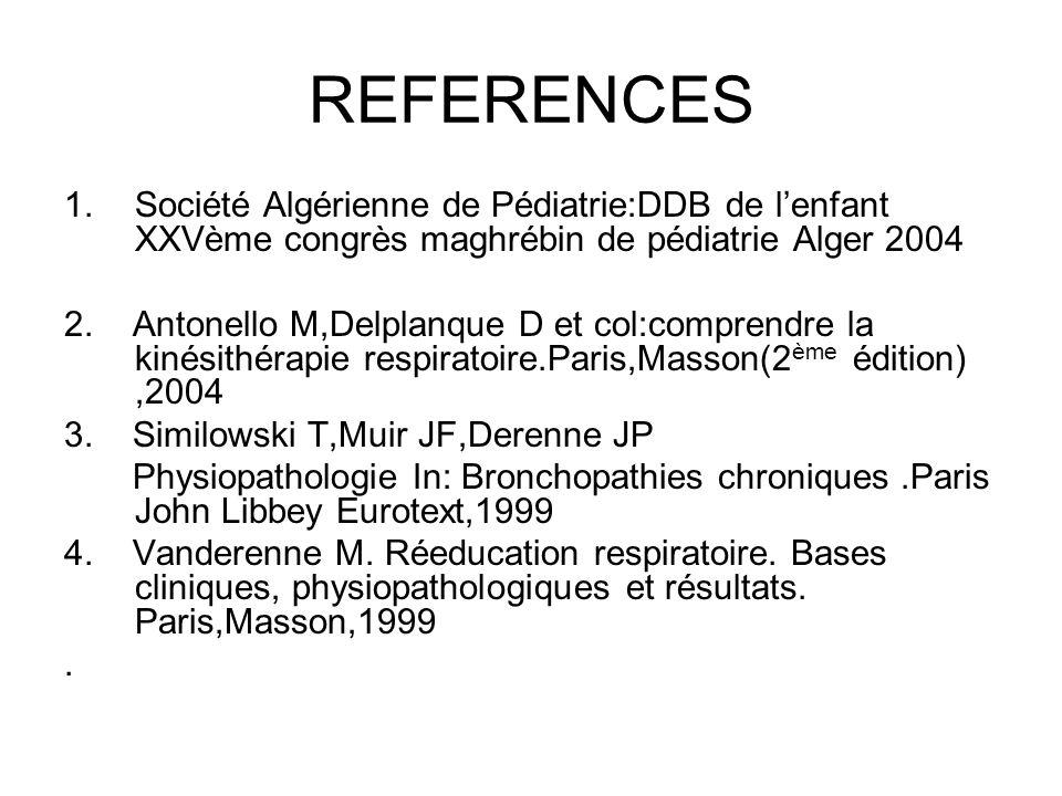 REFERENCES 1.Société Algérienne de Pédiatrie:DDB de lenfant XXVème congrès maghrébin de pédiatrie Alger 2004 2. Antonello M,Delplanque D et col:compre