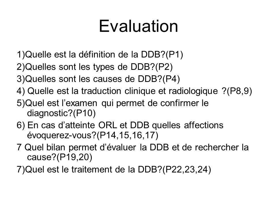 Evaluation 1)Quelle est la définition de la DDB?(P1) 2)Quelles sont les types de DDB?(P2) 3)Quelles sont les causes de DDB?(P4) 4) Quelle est la tradu