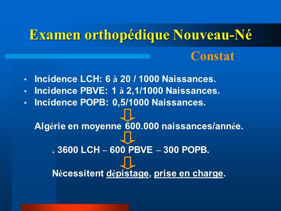 Incidence LCH: 6 à 20 / 1000 Naissances. Incidence PBVE: 1 à 2,1/1000 Naissances. Incidence POPB: 0,5/1000 Naissances. Alg é rie en moyenne 600.000 na