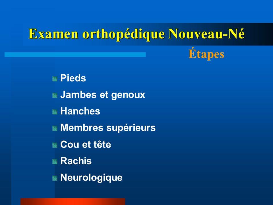 Examen orthopédique Nouveau-Né Examen Pieds Pied nouveau-né Talus (FD+++) Inspection: => Nombre orteils (Polydactylies) => Accolement orteils (Syndactylie) Anomalies Avant pied=>P.