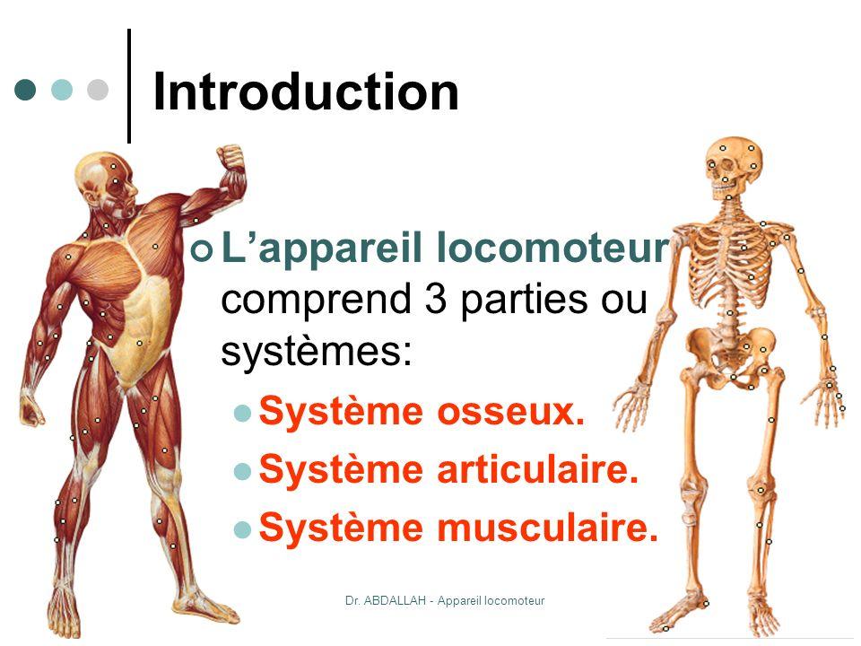 20/10/2007Dr. ABDALLAH - Appareil locomoteur 2 Introduction Lappareil locomoteur comprend 3 parties ou systèmes: Système osseux. Système articulaire.