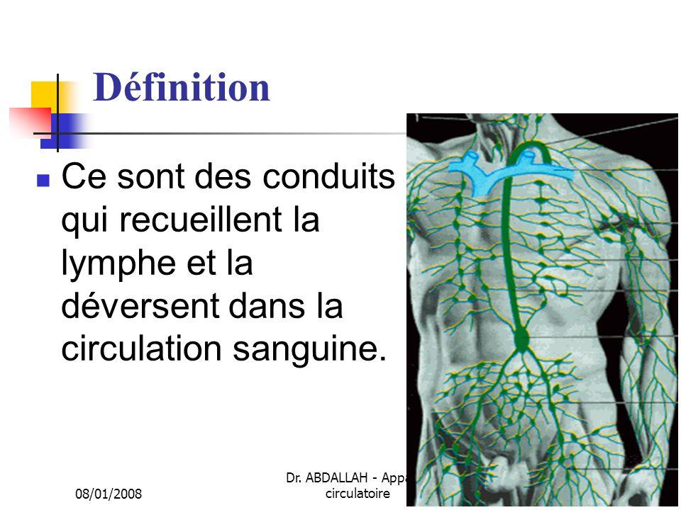 08/01/2008 Dr. ABDALLAH - Appareil circulatoire2 Définition Ce sont des conduits qui recueillent la lymphe et la déversent dans la circulation sanguin