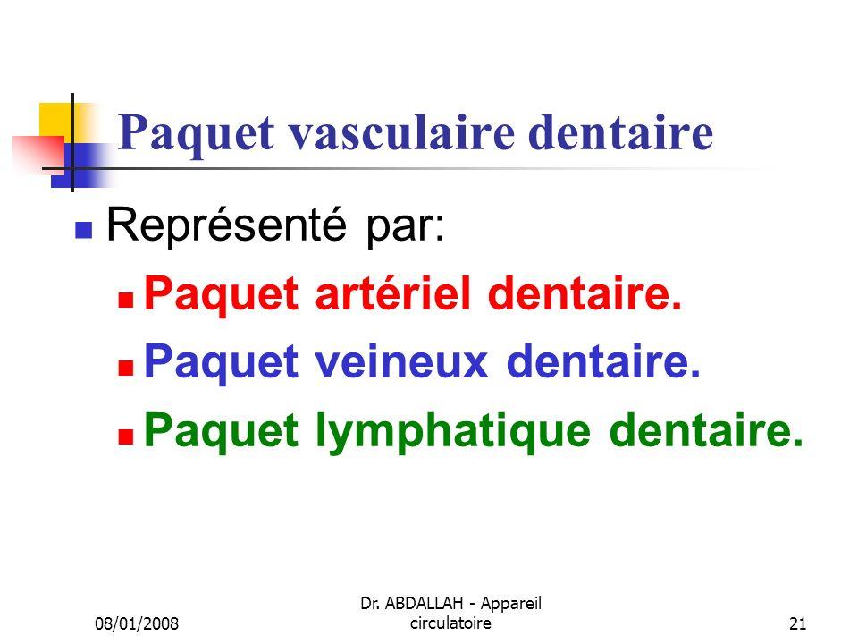 08/01/2008 Dr. ABDALLAH - Appareil circulatoire21 Paquet vasculaire dentaire Représenté par: Paquet artériel dentaire. Paquet veineux dentaire. Paquet