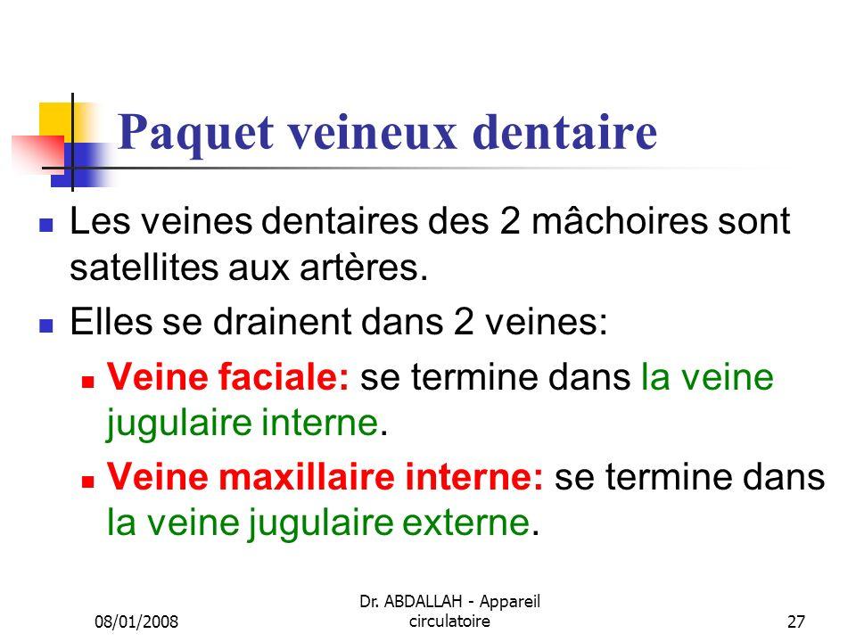 08/01/2008 Dr. ABDALLAH - Appareil circulatoire27 Paquet veineux dentaire Les veines dentaires des 2 mâchoires sont satellites aux artères. Elles se d