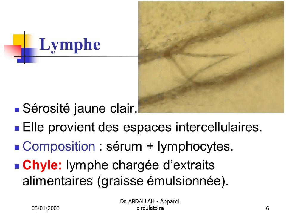 08/01/2008 Dr. ABDALLAH - Appareil circulatoire6 Lymphe Sérosité jaune clair. Elle provient des espaces intercellulaires. Composition : sérum + lympho