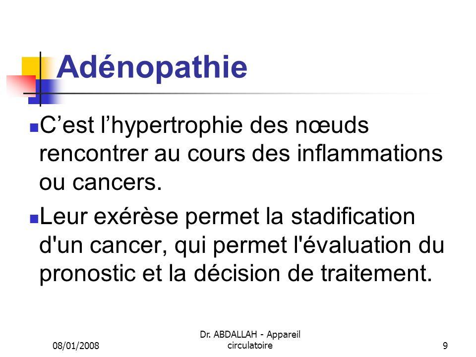 08/01/2008 Dr. ABDALLAH - Appareil circulatoire9 Adénopathie Cest lhypertrophie des nœuds rencontrer au cours des inflammations ou cancers. Leur exérè