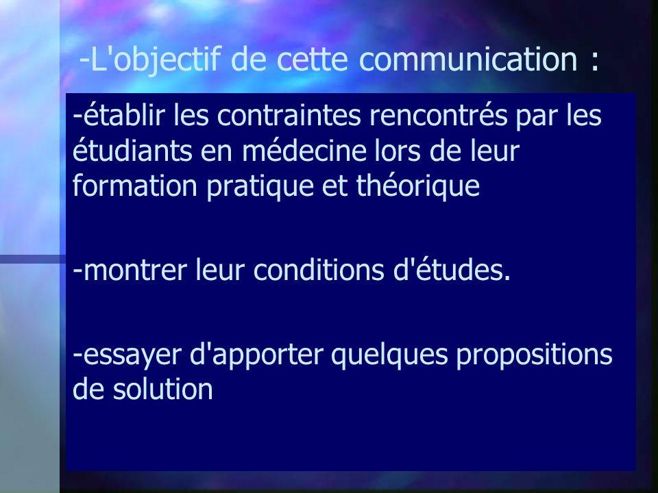 -L objectif de cette communication : -établir les contraintes rencontrés par les étudiants en médecine lors de leur formation pratique et théorique -montrer leur conditions d études.
