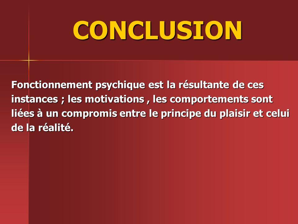 CONCLUSION Fonctionnement psychique est la résultante de ces instances ; les motivations, les comportements sont liées à un compromis entre le princip