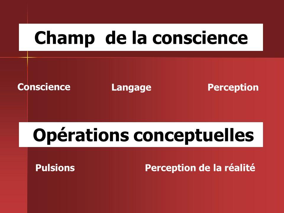 Conscience LangagePerception Opérations conceptuelles PulsionsPerception de la réalité Champ de la conscience