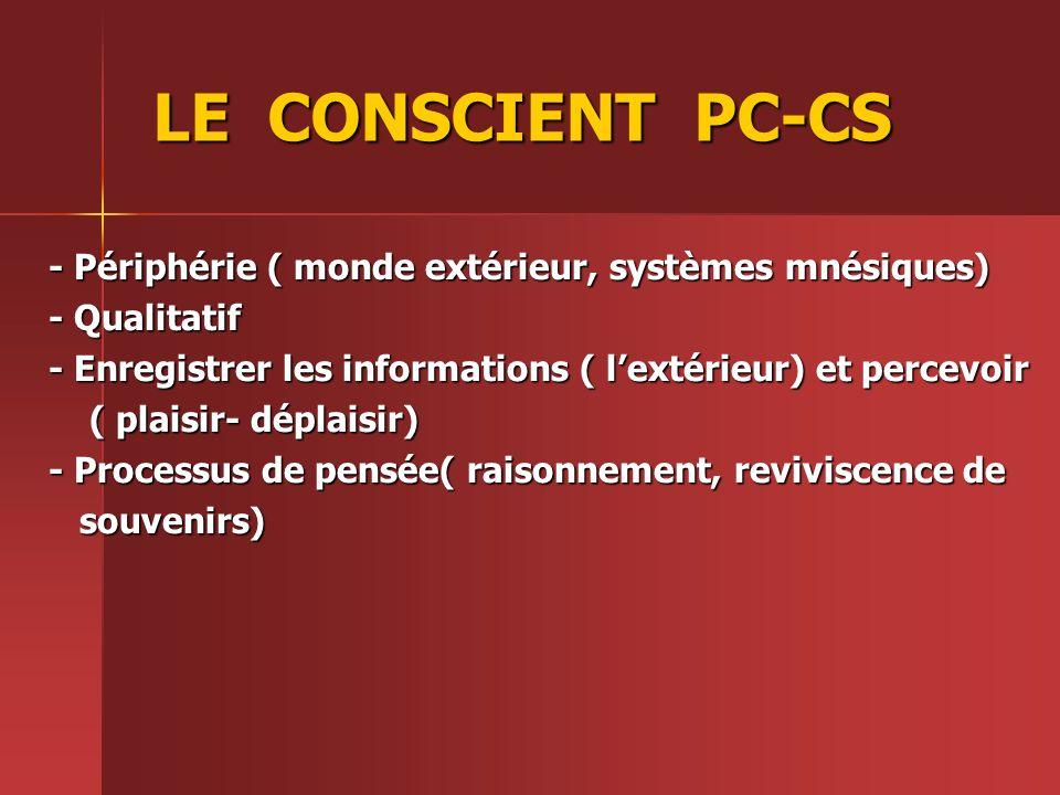 LE CONSCIENT PC-CS - Périphérie ( monde extérieur, systèmes mnésiques) - Qualitatif - Enregistrer les informations ( lextérieur) et percevoir ( plaisi