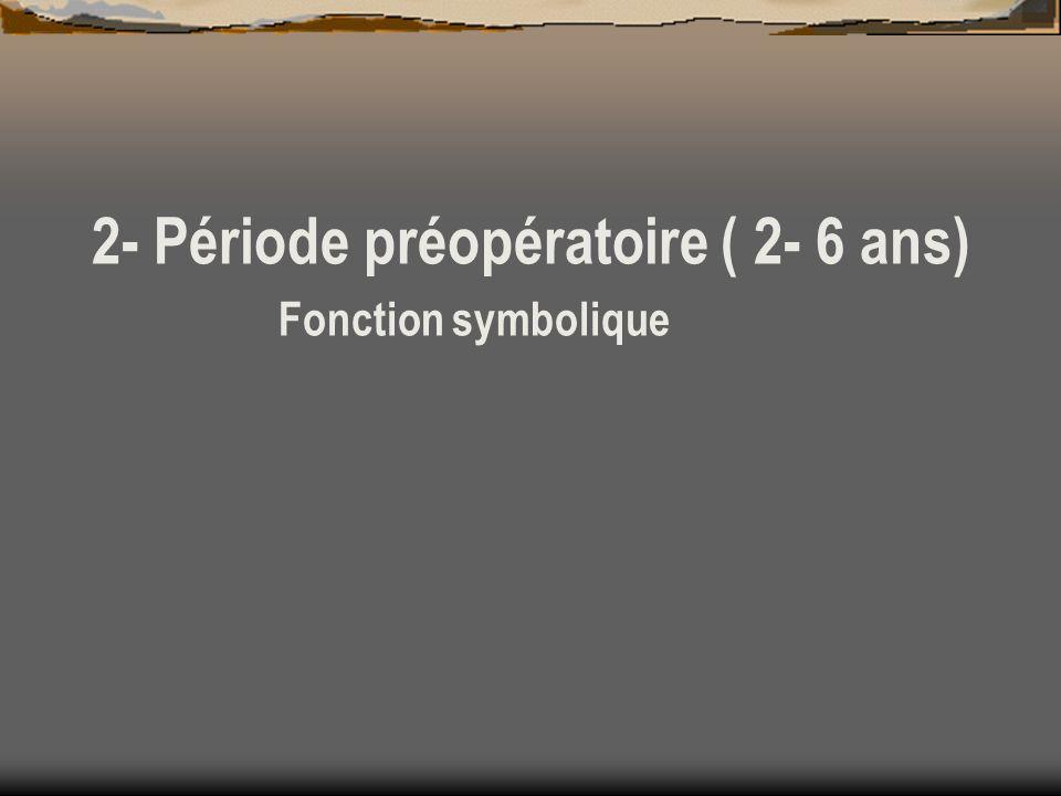 2- Période préopératoire ( 2- 6 ans) Fonction symbolique