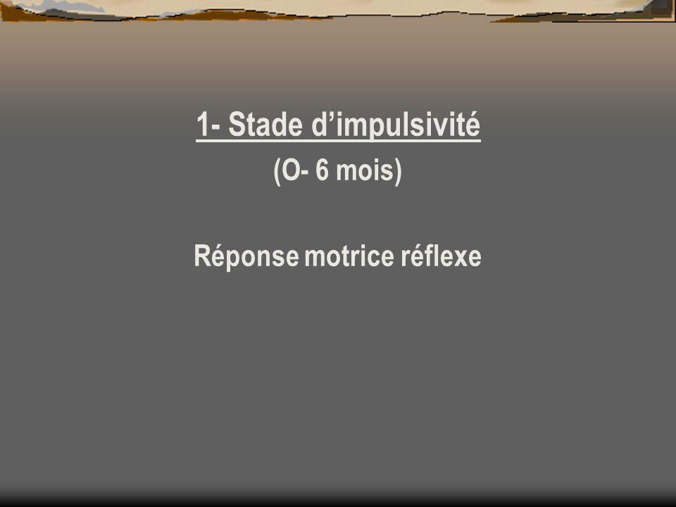 1- Stade dimpulsivité (O- 6 mois) Réponse motrice réflexe