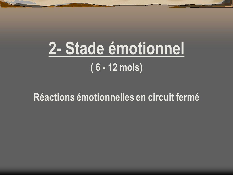2- Stade émotionnel ( 6 - 12 mois) Réactions émotionnelles en circuit fermé