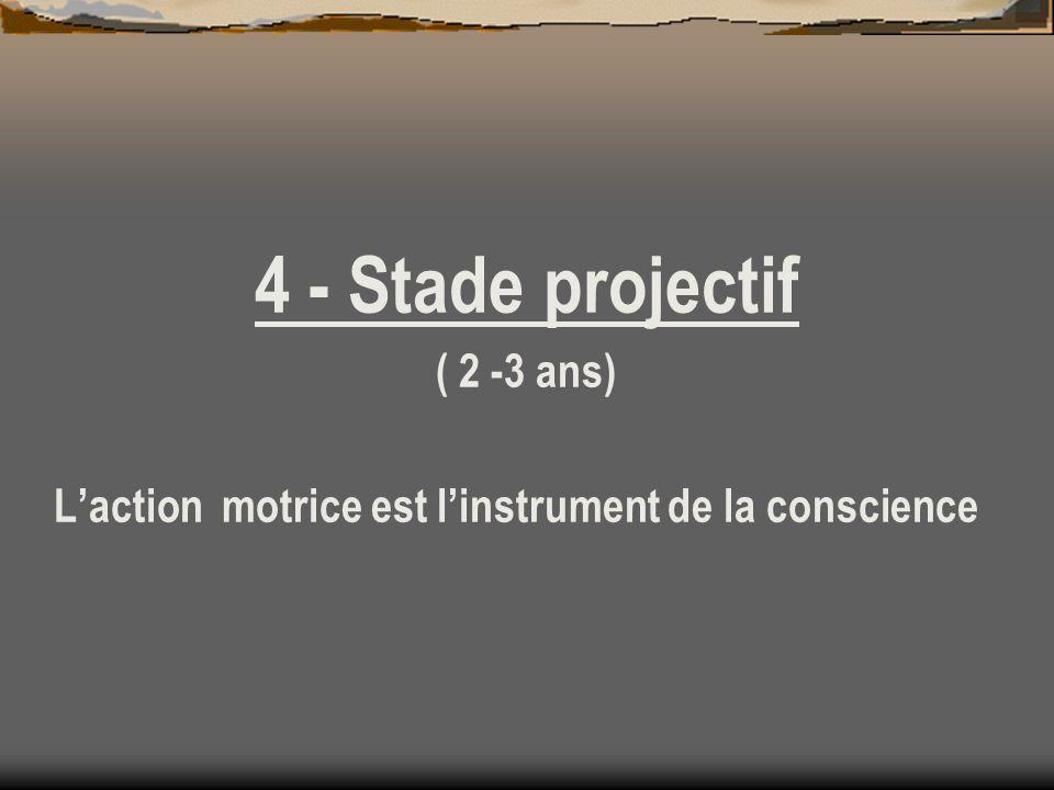 4 - Stade projectif ( 2 -3 ans) Laction motrice est linstrument de la conscience