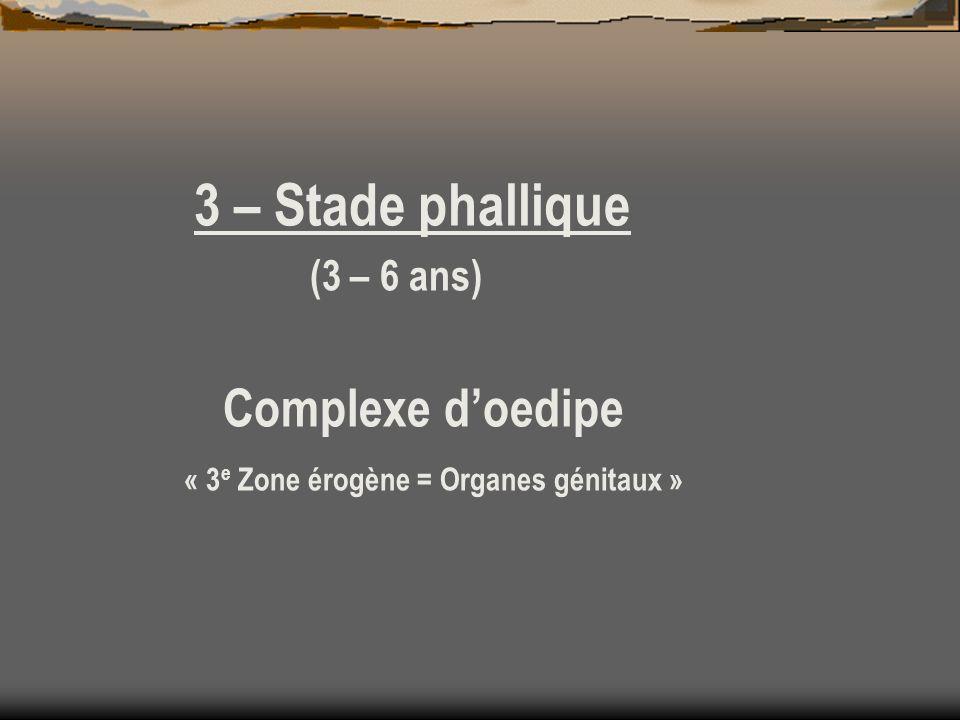 3 – Stade phallique (3 – 6 ans) Complexe doedipe « 3 e Zone érogène = Organes génitaux »