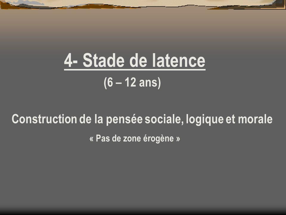 4- Stade de latence (6 – 12 ans) Construction de la pensée sociale, logique et morale « Pas de zone érogène »