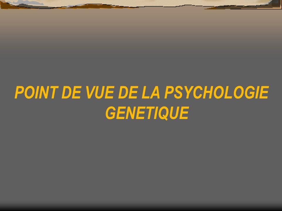 POINT DE VUE DE LA PSYCHOLOGIE GENETIQUE