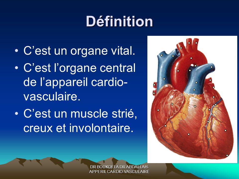 Définition Cest un organe vital. Cest lorgane central de lappareil cardio- vasculaire. Cest un muscle strié, creux et involontaire.