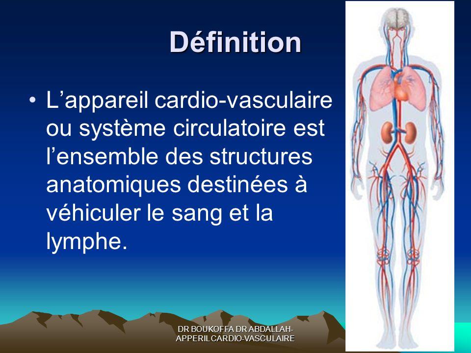 DR BOUKOFFA DR ABDALLAH- APPERIL CARDIO-VASCULAIRE Définition Lappareil cardio-vasculaire ou système circulatoire est lensemble des structures anatomi