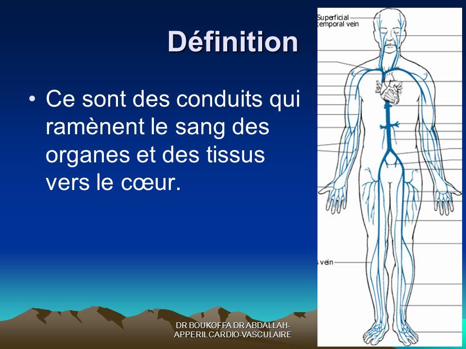 Définition Ce sont des conduits qui ramènent le sang des organes et des tissus vers le cœur.