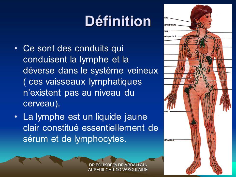 DR BOUKOFFA DR ABDALLAH- APPERIL CARDIO-VASCULAIRE Définition Ce sont des conduits qui conduisent la lymphe et la déverse dans le système veineux ( ce