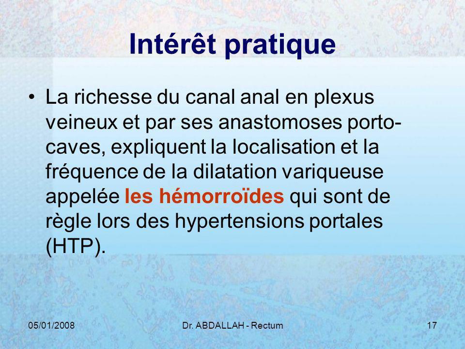 05/01/2008Dr. ABDALLAH - Rectum17 Intérêt pratique La richesse du canal anal en plexus veineux et par ses anastomoses porto- caves, expliquent la loca